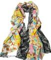 【春夏セール】大判薄型フラワー&レース柄100%ウールストール/スカーフ/マフラー 3735
