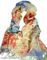 【セール】大判薄型フラワー&アニマル蝶ちょ柄100%ウールストール/スカーフ/マフラー 3786