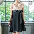 (SALE15%OFF) フラワー衿のサテン使いリボンドレス