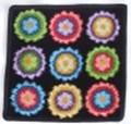 【新柄】 フェイラータオルハンカチ Rainbow Button BLACK