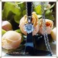 ○CZダイヤ 1粒石 ネコ ステンレスネックレス ギフトBOX付き プレゼント最適○