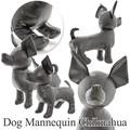 【今週のオススメ】ドッグマネキン チワワ(ブラック)2サイズ レザー ぬいぐるみ ディスプレイ小型犬