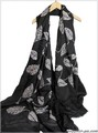 【セール】無地葉っぱ刺繍コットン混大判ストール スカーフ 7316c