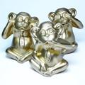 ポルトガル製 テラコッタ 三猿 置き物 19cm 3匹セット ゴールデン モンキー 申年 干支 開運