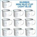 気取らないシンプルなマグでコーヒーブレイク♪【ナンバーミニマグカップ(ライトブルー)】0〜9まで!