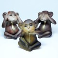 ポルトガル製 テラコッタ 三猿 置き物 19cm 3匹セット ブラウン モンキー 申年 干支