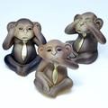 ポルトガル製 テラコッタ 三猿 置き物 12cm 3匹セット ブラウン モンキー 申年 干支