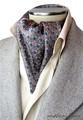 エレガント袋縫い葉っぱ柄メンズ用100%シルクスカーフ 1069b