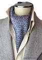 エレガント袋縫い葉っぱ柄メンズ用100%シルクスカーフ 1069e