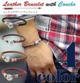 【売れ筋♪】 ネイティブ エスニック ブレスレット コンチョ レザー 5mm丸革紐 レディース
