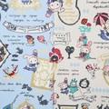 センチメンタルサーカス オックス生地てまねき影絵のアリス 綿カス残し/ブルー【生地】【キャラクター】