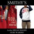 ★大特価★SMITHY'S スミス メンズ ラグラン SURF WAIKIKI フードスウェットパーカー<ラスト3点>