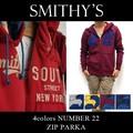 ★大特価★SMITHY'S スミス メンズ 裏起毛 ナンバー22 ZIPフードスウェットパーカー<4col>