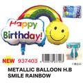 【バースデー お誕生日】メタリックバルーンHBスマイルレインボー デコレーション 飾りつけ パーティー