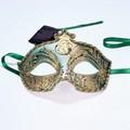 イタリア製ベネチアンカーニバルマスク ジッリ【GIGLI】・ゴールド&グリーン