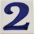 ブルーポタリー ナンバータイルS(5×5) WHITE 2【インテリア】