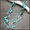 【均一SALE】ブルーグリーンの2連ネックレス【天然素材】