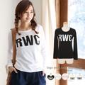 ◆ビッグ英字ロゴプリントTシャツ/長袖/ロンT/カットソー/トップス◆422667