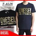 ★DIESEL夏物特集★DIESEL ディーゼル メンズ  ロゴプリント Tシャツ<BLACK><ラスト2点>