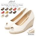 【赤字覚悟!!大放出SALE】◆[8.5cmヒール]ジュートウェッジオープントゥパンプス/靴◆418064
