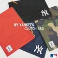 【当社生産 国内ライセンス】ヤンキース  ポリエステル クラッチバッグ カバン 鞄 ねこ