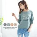 【SALE】◆7分袖かすれ英字ロゴプリントTシャツ/トップス◆422029