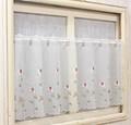 【新作】窓辺を彩る小花刺繍カフェカーテン シングルローズ