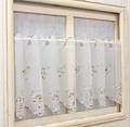 【新作】窓辺を彩る小花刺繍カフェカーテン プチローズ