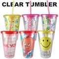【アメ雑 アメリカ雑貨】Clear Tumbler 7種 クリアタンブラー スマイル 食器 かわいい