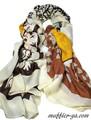 【セール】4色★大判コットン混エスニックハート&ハート柄ストール/スカーフ 7307