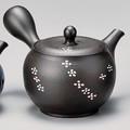 美味しいお茶を淹れるならこれ!!■常滑焼急須【陶製茶こし急須】春秋黒ノタ打花流れ急須