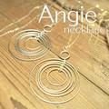 NEW【Angie】ビッグ5リング ロング ネックレス!ゴールド&シルバー。シンプル&フェミニン!