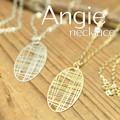 NEW【Angie】モダンランダム格子 ネックレス!ゴールド&シルバー。シンプル&フェミニン!