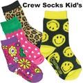 【靴下 4種】クルーソックス キッズ 靴下 フラワー 花柄 スマイル イチゴ アメカジ かわいい