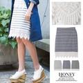 【SALE】裾レースボーダー膝丈スカート/セットアップ/春夏/ハニーセール