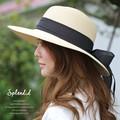 リボン付きつば広ストローハット カンカン帽 紫外線対策