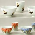 【ねこ柄】日本製有田焼 ねこのいる風景&錆ねこ 湯呑&飯碗