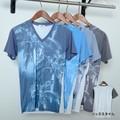 【SALE セール】 メンズ フォト転写プリント Vネック Tシャツ / 半袖 パームツリー ヤシの木 サーフ 春 夏