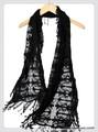 【セール】アイビーフリンジフラワー刺繍レースストール/スカーフ 7444b