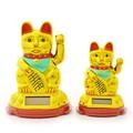 ソーラー招き猫 2サイズ 10cm(大) 7.5cm(小) ねこ ネコ 商売繁盛 開運 お土産