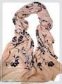 【セール】無地フラワーボタニカル刺繍入り大判ストール/スカーフ 7221a