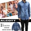 ◇2016春夏新作◇ALCOTT アルコット メンズ サボテンプリント デニム ダンガリー 長袖シャツ