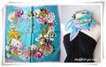 フェミニンな花柄♪100%シルクプチスカーフ 04001