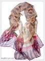 ファンタジーアニマル柄100%シフォンシルクロングスカーフ  14860
