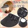 リボンブラックサンバイザー/UVカットクリップサンバイザー/ブラック