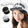 キャップ 白 黒 バイカラー BLACK REBEL 刺繍 ロゴ キャップ