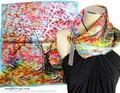 【セール】油絵風風景柄★100%シルクプチスカーフ 04158