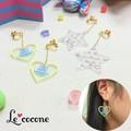 ★2016年ニコプチ6月号掲載商品★【Le cocone】ゆらゆらメッセージイヤリング-ハート・スター-