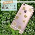 <スマホケース>【399シリーズ!】自然の葉を使用♪ iPhone 6s/6用の押し花クリアケース