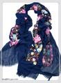 【セール】無地カラフルフラワーボタニカル刺繍入り大判ストール/スカーフ 92230c